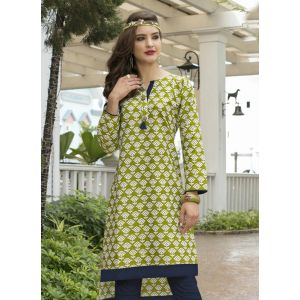 Green and Off White color Formal-Cotton Ready Made Kurti