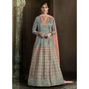 Grey color Designer-Silk Salwar Kameez