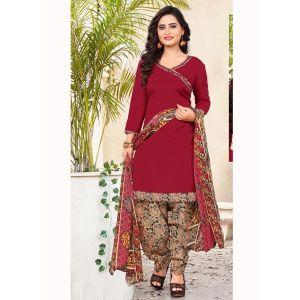 Maroon color Casual Salwar Kameez-Cotton Salwar Kameez