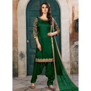 Green color Patiyala Suita-Silk Salwar Kameez