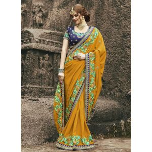 Yellow color Designer Saree-Georgette Embroidered Saree