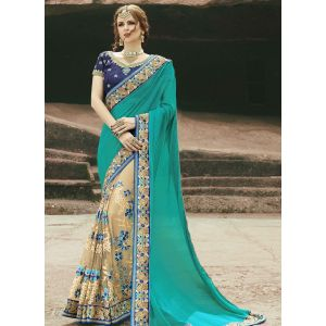 Green and Off White color Designer Saree-Chiffon Embroidered Saree