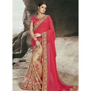 Red and Off White color Designer Saree-Chiffon Embroidered Saree