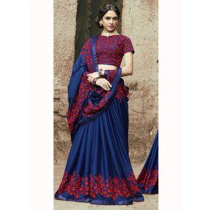 Blue color Designer Saree-Georgette Embroidered Saree