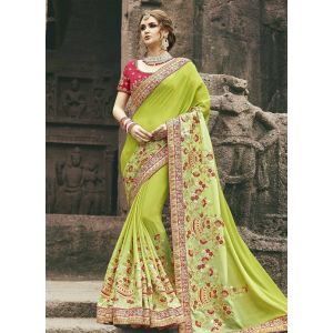 Green color Designer Saree-Chiffon Embroidered Saree