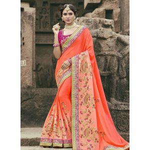 Orange color Designer Saree-Chiffon Embroidered Saree