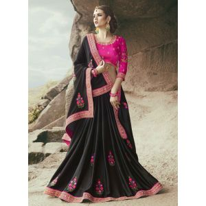 Black color Designer Saree-Georgette Embroidered Saree