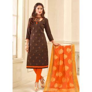 Brown color Casual Salwar Kameez-Cotton Salwar Kameez