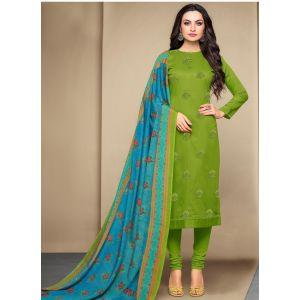 Green color Casual Salwar Kameez-Cotton Salwar Kameez
