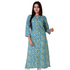 Blue color Formal-Cotton Ready Made Kurti