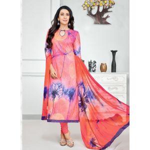 Orange and Blue color Casual Salwar Kameez-Cotton Salwar Kameez