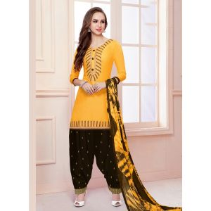 Yellow color Patiyala Suita-Cotton Salwar Kameez