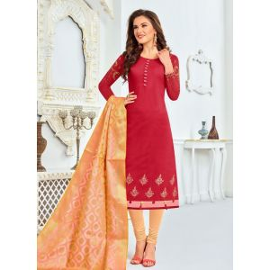 Red color Straight Suits-Cotton Salwar Kameez