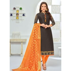Grey color Straight Suits-Cotton Salwar Kameez