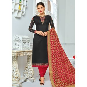 Black color Straight Suits-Cotton Salwar Kameez