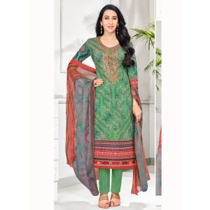 Green and Red color Casual Salwar Kameez-Cotton Salwar Kameez