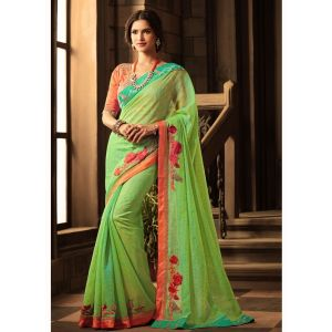 Green color Designer Saree-Silk Embroidered Saree