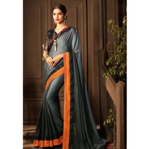 Grey color Designer Saree-Silk Embroidered Saree