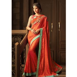 Red color Designer Saree-Silk Embroidered Saree
