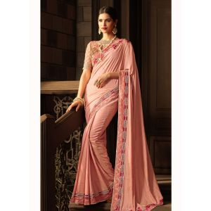 Pink color Designer Saree-Goergette Embroidered Saree