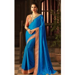 Blue color Designer Saree-Silk Embroidered Saree