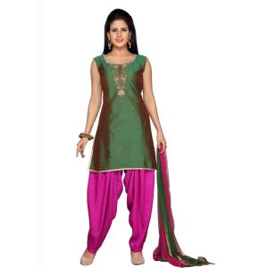 Green color Party Wear Rmd Salwar-Silk Salwar Kameez