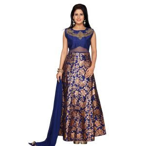 Blue and Multicoloured color Party Wear Rmd Salwar-Silk Salwar Kameez