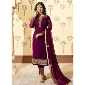 Purple color Designer-Georgette Salwar Kameez