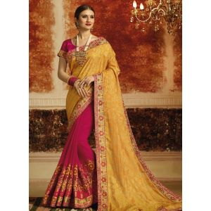 Yellow and Pink color Designer Saree-Jacquard Embroidered Saree