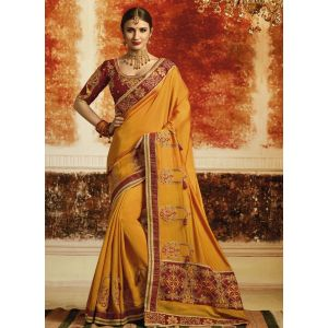 Yellow color Designer Saree-Silk Embroidered Saree