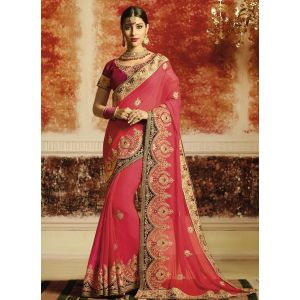 Pink color Designer Saree-Georgette Embroidered Saree
