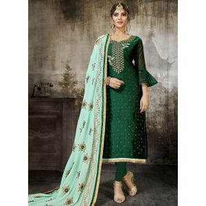 Women Salwar Kameez Green color Straight Suits