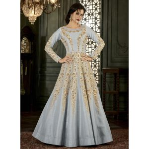 Women Salwar Kameez Silver color Anarkali Suits