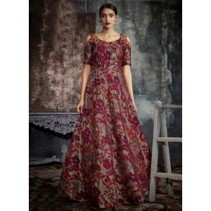 Women Gown Red and Grey color Designer