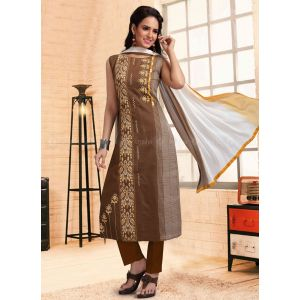 Women Ready Made Salwar Brown color Party Wear