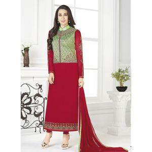 Women Salwar Kameez Red color Jacket Style