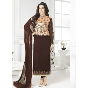 Women Salwar Kameez Brown color Jacket Style