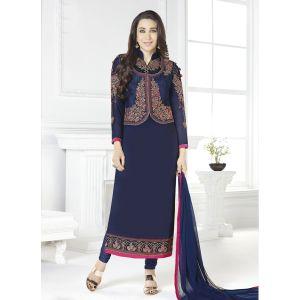 Women Salwar Kameez Blue color Jacket Style