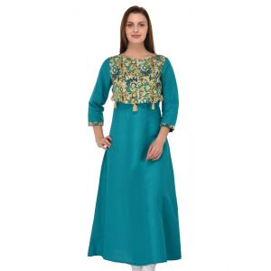 Women Ready Made Kurti Green Color Formal
