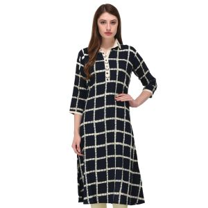 Women Ready Made Kurti Black Color Formal