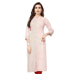 Women Ready Made Kurti White Color Cotton