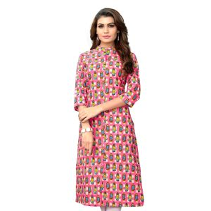 Women Ready Made Kurti Multicoloured Color Cotton