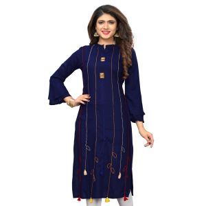 Women Ready Made Kurti Blue Color Rayon