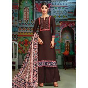 Women Salwar Kameez Brown color Casual