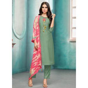 Women Salwar Kameez Geen Color Straight Suits