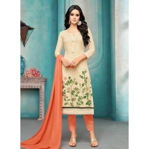 Women Salwar Kameez Off White Color Straight Suits