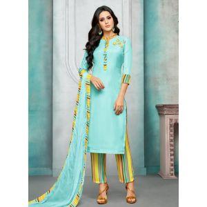 Women Salwar Kameez Blue Color Straight Suits