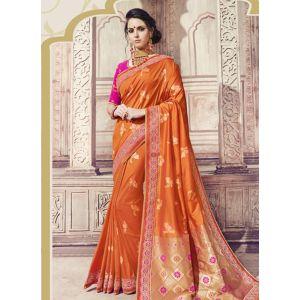 Women Saree Orange Color Silk Designer