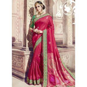 Women Saree Red Color Silk Designer