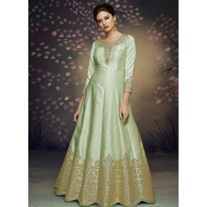 Women Gown Silk Green color